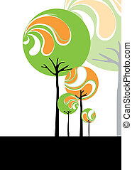 Abstract stylish tree on black and white background