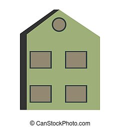 abstract stylized building on white background