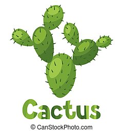 Abstract stylized cactus and text background design.