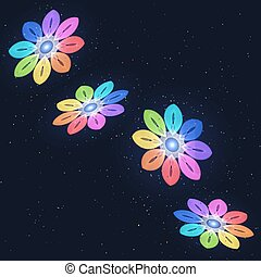 Abstract Stylized Rainbow Flovers on Starry Sky.