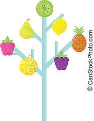 Abstract stylized Retro Fruit Tree isolated on white