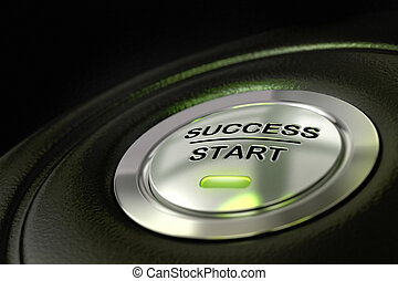 abstract success start button, metal material, green color and black textured background. Focus on the main word and blur effect. successful concept
