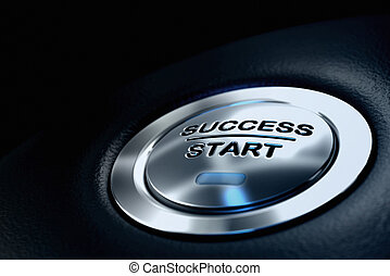 abstract success start button, metal material, blue color and black textured background. Focus on the main word and blur effect. Business concept