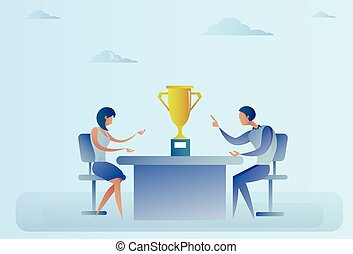 Abstract Successful Business Man And Woman Sitting At Table With Prize Winner Cup, Success Concept
