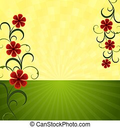 Abstract summer background with red flowers
