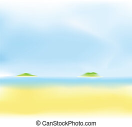 abstract summer beach blur background with green island