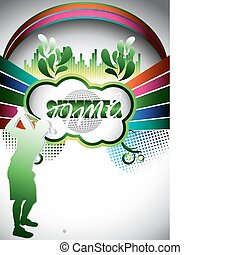 Abstract summer composition with golf player silhouette