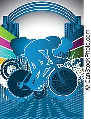 Abstract summer cyclist poster