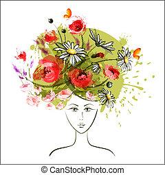 Abstract summer girl - Abstract summer flower girl. EPS10