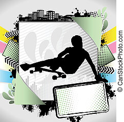 Abstract summer long boarder poster - Abstract summer frame...