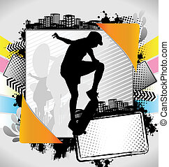 Abstract summer skateboarder poster - Abstract summer frame...