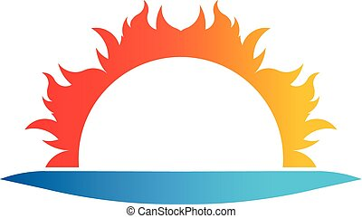 Abstract sun, beach vector logo symbol