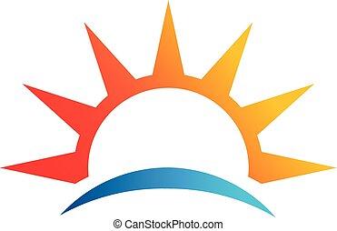 Abstract sun, beach vector logo symbol