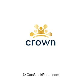 Abstract sun icon, golden crown circles in semicircle. Dotted logo template, flat concept logotype design for modern premium business. Vector logo.