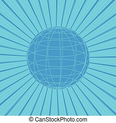 Abstract sun rays with line of globe on blue background. Vector illustration design.