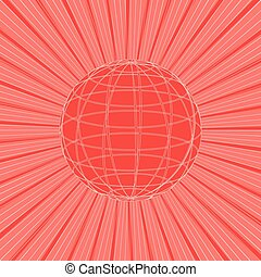 Abstract sun rays with line of globe on red background. Vector illustration design.