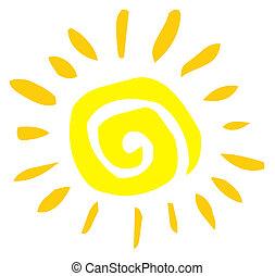 Abstract Sun  - Yellow Painted Style Spiral Sun