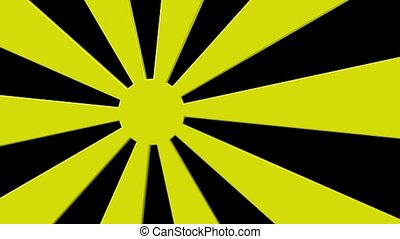 Abstract sunburst in yellow on blac