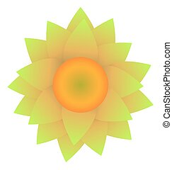 Abstract Sunflower isolated on white background