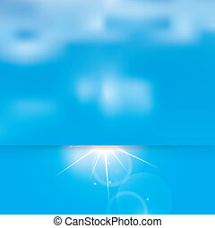 Abstract sunny sky and clouds vector background