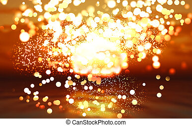 Abstract sunset ocean with bokeh lights