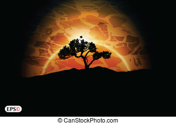 Abstract sunset with tree
