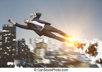 Abstract super hero businessman
