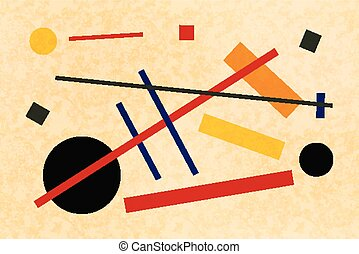 Abstract suprematism composition, horizontal flat...