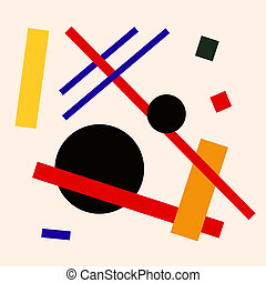 Abstract suprematism composition on beige, square flat illustration