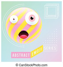 Abstract Surprised Emoji with Different Eyes