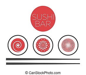 Japanese food delivery service emblem sushi and rolls vector logo abstract sushi bar food logo vector template maxwellsz