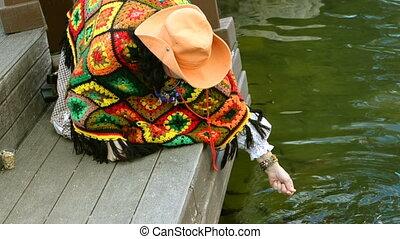 Abstract swimming colorful carp or Koi fish.
