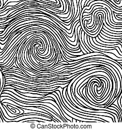 Abstract swirl line doodle seamless pattern. Wooden wave...