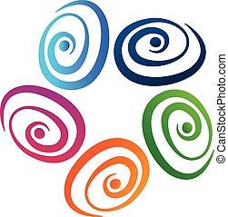 Abstract swirl teamwork vector logo