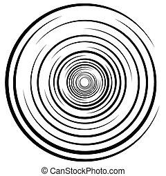 Abstract swirl, twirl, spiral element, rotating shape. Black...