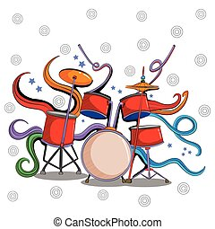 Abstract swirly musical background with Drum music instrument