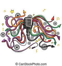 Abstract swirly musical background with Microphone music equipment