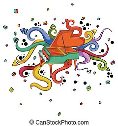 Abstract swirly musical background with Piano music instrument