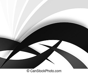 Abstract Swooshes - A black and white background - great for...