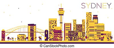 Abstract Sydney Skyline with Color Buildings.