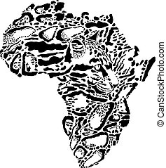 Abstract symbol Africa in Clouded leopard camouflage.eps