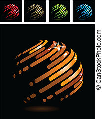 Abstract symbol made of glossy metal stripes