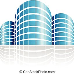 Abstract Symbol of Shiny Cylindrical Residences Icon