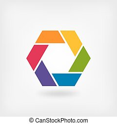 abstract symbol rainbow hexagon