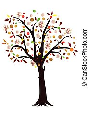 Illustration with Autumn colorful tree, object isolated