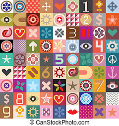 Abstract symbols collage