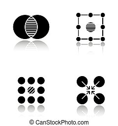 Abstract symbols drop shadow black glyph icons set