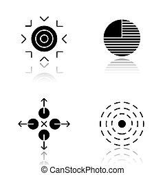 Abstract symbols drop shadow black icons set