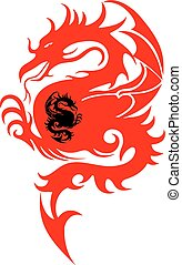 Abstract Symbols, Silhouette of a fighting dragon (red, black), sharp tail, on white background,