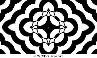 Abstract symmetry black and white kaleidoscope, 3d render...